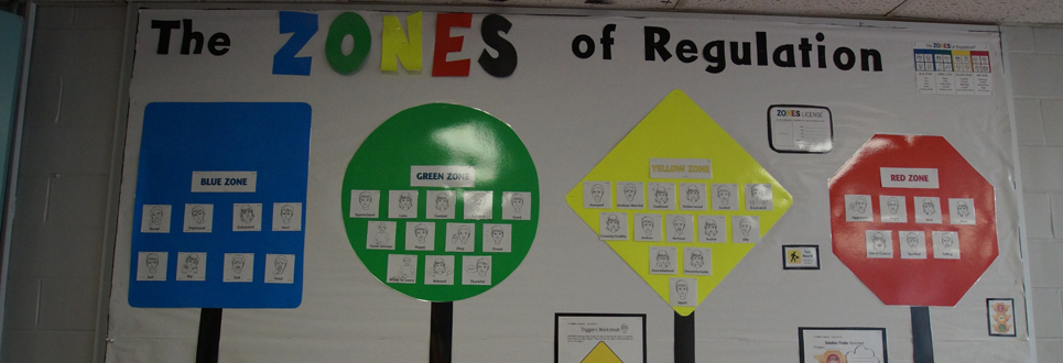 Large poster designating The Zones of Regulation, with a blue square, green circle, yellow diamond and red stop sign with different expressions on them.