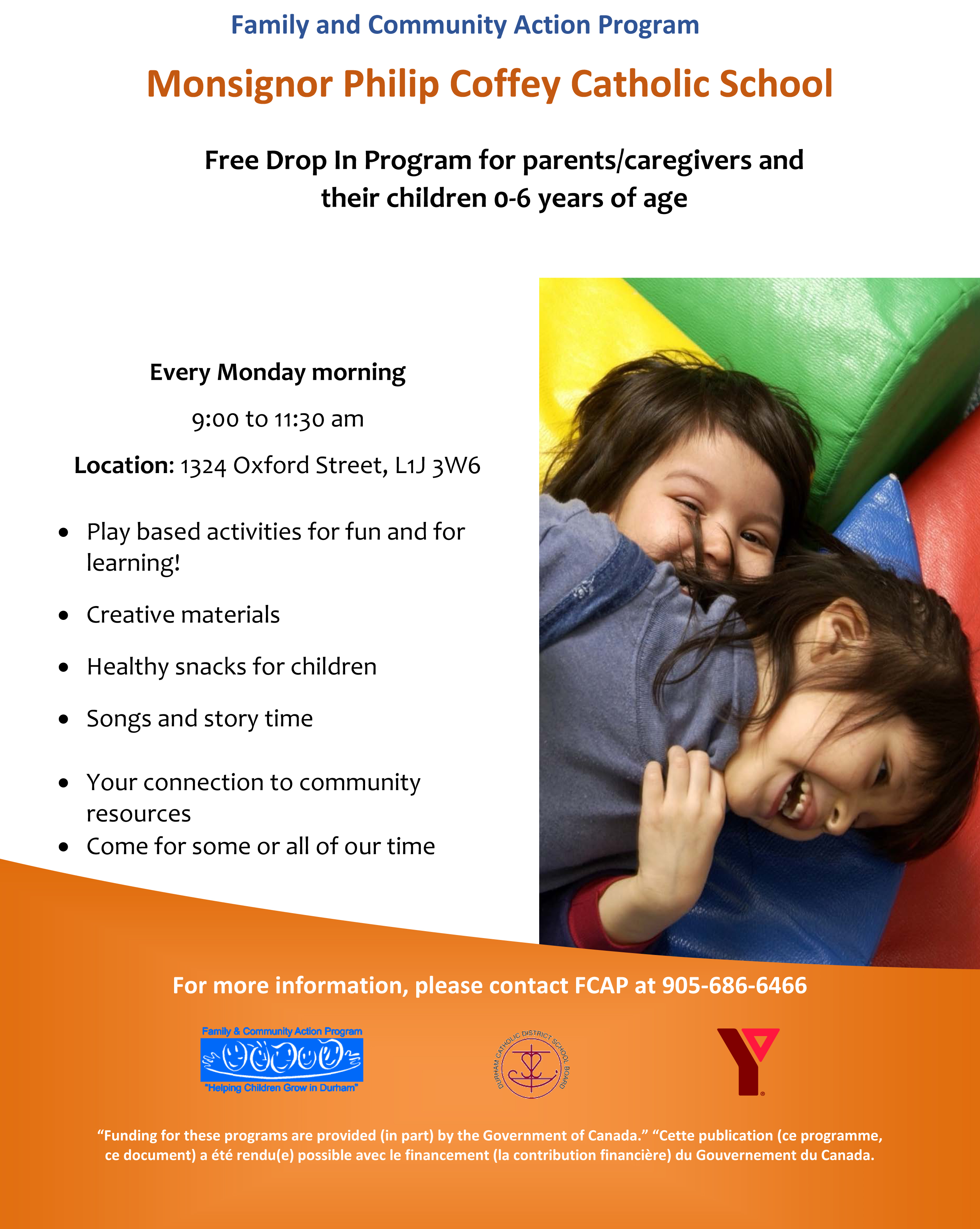 Flyer promoting Free Drop In Program for parents and caregivers and their children 0-6 years of age